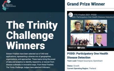 โครงการผ่อดีดี (PODD – Participatory Onehealth Disease Detection) ได้รับรางวัลชนะเลิศ (Grand Prize Winner) จาก The Trinity Challenge